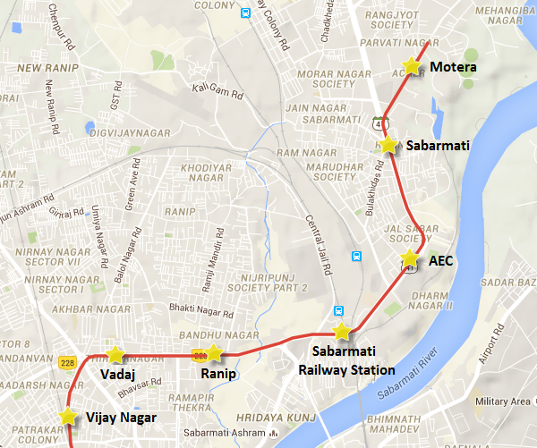 Alignment of Ahmedabad Metro's Motera – Ranip section – view Ahmedabad Metro map & information